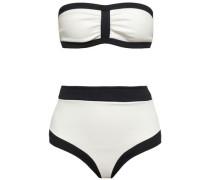 Ruched Two-tone Bandeau Bikini Off-white