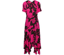 Cora Printed Silk Crepe De Chine Midi Wrap Dress Bright Pink