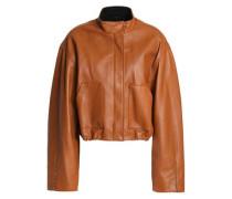 Barbell-embellished leather bomber jacket