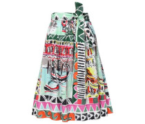 Woman Belted Printed Cotton-poplin Skirt Multicolor