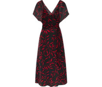 Wrap-effect Printed Silk-chiffon Midi Dress Black