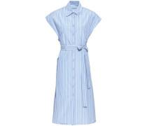 Belted Striped Poplin Shirt Dress Light Blue