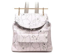 Printed Textured-leather Backpack Pastel Pink Size --