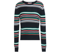 Striped Cotton Sweater Black