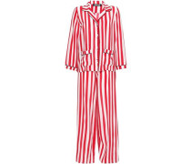 Striped Silk Crepe De Chine Pajama Set Red