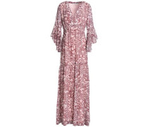 Fluted Leopard-print Georgette Maxi Dress Baby Pink