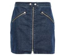 Racer Zip-detailed Denim Mini Skirt Dark Denim  5