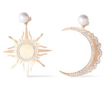 Gold-tone Sterling Silver, Crystal And Faux Pearl Earrings Gold Size --