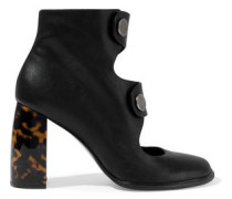 Cutout faux leather ankle boots