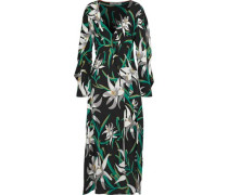 Wrap-effect floral-print stretch-silk midi dress
