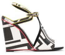 Printed snake-effect leather wedge sandals