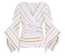 Striped Cotton-poplin Wrap Top White