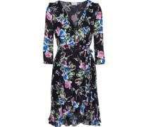 Audrey Floral-print Silk Crepe De Chine Mini Wrap Dress Black