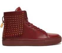 Studded fringed leather high-top sneakers