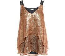 Layered Embellished Crinkled Silk-organza Top Copper