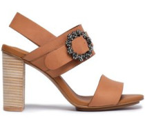 Buckle-embellished Leather Sandals Tan