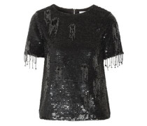 Distressed embellished cotton top
