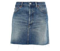 Frayed Two-tone Denim Mini Skirt Mid Denim