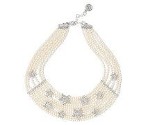 Silver-tone, faux pearl and crystal necklace