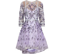 Sequin-embellished Metallic Embroidered Tulle Dress Lilac Size 12