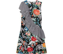 Ruffled printed cotton-poplin and crepe mini dress