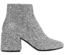 Embellished Leather Ankle Boots Silver