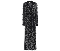 Woman Fil Coupé Silk-blend Crepe De Chine Maxi Dress Black