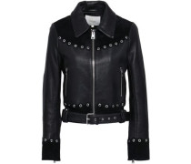 Eyelet-embellished suede-paneled leather jacket