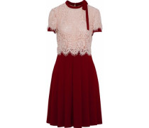 Corded lace-paneled pleated crepe dress
