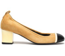Leather-paneled suede pumps