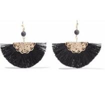 Gold-tone fringed bead earrings