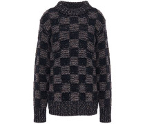 Woman Checked Wool Sweater Midnight Blue