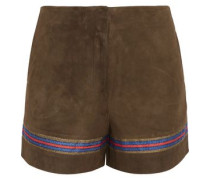 Mahi embroidered suede shorts