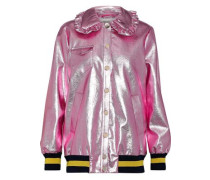 Bryna Metallic Faux Leather Bomber Jacket Pink
