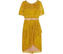 Draped Asymmetric Lace Dress Chartreuse Size 16