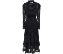 Woman Tempest Flutter Embroidered Tulle-paneled Striped Burnout Silk Midi Dress Navy