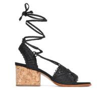 Lace-up macramé leather sandals