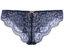 Scalloped Lace Mid-rise Thong Storm Blue