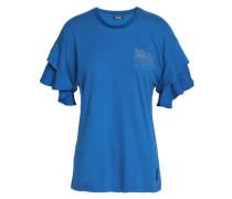 Crystal-embellished cotton-blend jersey top