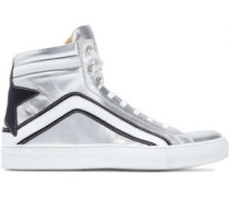 Dillion appliquéd metallic leather sneakers