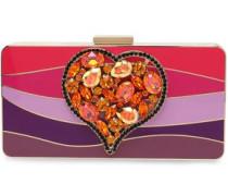Crystal-embellished color-block Plexiglas box clutch