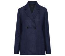 Woman Brest Double-breasted Wool And Linen-blend Blazer Navy