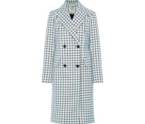 Double-breasted Checked Twill Coat White