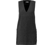 Houndstooth wool-blend mini dress