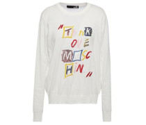 Embroidered Sequin-embellished Cotton Sweater White