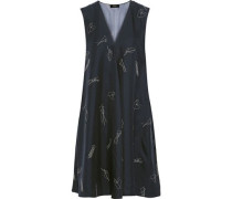 Printed Silk-twill Dress Navy