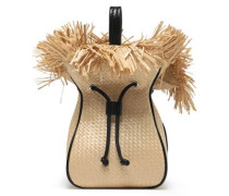 Leather-trimmed frayed woven bucket bag