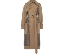 Prince Of Wales Checked Tweed And Gabardine Trench Coat Sand