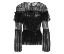 Velvet-trimmed Lace Top Black