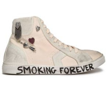 Embellished Distressed Canvas High-top Sneakers Ecru